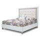 AICO Sky Tower California King Upholstered Platform Bed in White Cloud