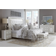 AICO Sky Tower 4pc Upholstered Platform Bedroom Set in White Cloud