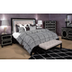 AICO Sky Tower 4pc Upholstered Platform Bedroom Set in Black Ice