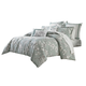 AICO Abigail 9-pc Queen Comforter Set in Aqua BCS-QS09-ABIGAL-AQA