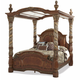 AICO Villa Valencia California King Bed with Canopy in Chestnut