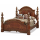 AICO Villa Valencia King Poster Bed in Chestnut