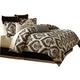AICO Equinox 10-pc King Comforter Set in Sand BCS-KS10-EQNOX-SAN