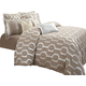 AICO Como 9-pc Queen Comforter Set in Taupe BCS-QS09-COMO-TAUP