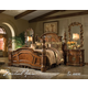 AICO Villa Valencia 4pc Poster Bedroom Set in Chestnut