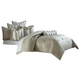 AICO Paparazzi 9-pc Queen Comforter Set in Silver BCS-QS09-PPRZI-SIL