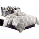 AICO Peyton 12-pc Queen Comforter Set in Graphite BCS-QS12-PYTON-GRA