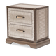 AICO Valise 2 Drawer Upholstered Nightstand in Amazon Tan Gator 9026640-110