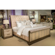 AICO Valise 4pc Upholstered Bedroom Set in Amazon Tan Gator