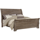 All-American Whiskey Barrel Queen Sleigh Bed in Rustic Gray