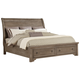 All-American Whiskey Barrel Queen Sleigh Storage Bed in Rustic Gray