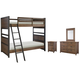 Legacy Classic Kids 4-Piece Fulton County Bunk Bedroom Set in Tawny Brown