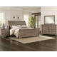 All-American Whiskey Barrel 4pc Sleigh Bedroom Set in Rustic Gray