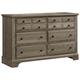 Virginia House Bedford Six Drawer Dresser in Washed Oak BB81-002