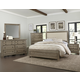 Virginia House Bedford 4 Piece Upholstered Bedroom Set in Washed Oak