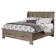 All-American Woodlands King Sleigh Storage Bed in Driftwood