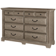 All-American Woodlands 8 Drawer Triple Dresser in Driftwood