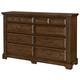 All-American Woodlands 8 Drawer Triple Dresser in Oak