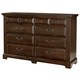 All-American Country Club 8 Drawer Triple Dresser in Cherry