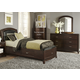 Liberty Furniture Avalon Youth 4 Piece One Sided Rail Leather Storage Bedroom Set in Dark Truffle