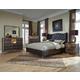 AICO Hollywood Loft 4-Piece Upholstered Platform Bedroom Set in Ganache