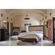Aico Bella Cera 4pc Panel Bed with Fabric Tufted Headboard Bedroom Set in Capri