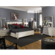 Aico Beverly Boulevard 4pc Upholstered Bedroom Set in Pearl Caviar with Black & Gray