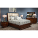 Aico Cloche 4pc Channel Tufted Bed in Bourbon