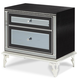 AICO Hollywood Swank Upholstered Nightstand in Black Iguana 03042-81