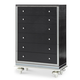 AICO Hollywood Swank 5 Drawer Upholstered Chest in Black Iguana 03071-81