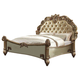 Acme Vendome Button Tufted Queen Bed in Gold Patina 23000Q