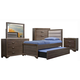 Liberty Hartly 4-Piece Twin Upholstered  Bedroom Set with Trundle in Gray Wash