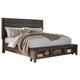 Ralene Queen Upholstered Storage Panel Bed in Dark Brown B594-Q
