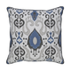 Damaria Ikat Designed Pillow in Blue and Ivory (Set of 4)