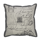 Arva Vintage Script Designed Pillow in Natural and Gray (Set of 4)
