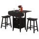 Coaster 3 Piece Drop Leaf Bar Table and Stool Set 150100