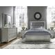 Samuel Lawrence Celestial 4pc Upholstered Panel Bedroom Set in Silver