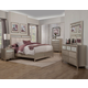 Alpine Furniture Silver Dreams 4-Piece Upholstered Panel Bedroom Set in Silver