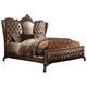 Acme Versailles Cal King Bed in L.Brown PU/Cherry Oak 21094CK