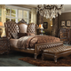Acme Versailles 4-Piece Upholstered Bedroom Set in Cherry Oak