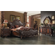 Acme Versailles 4-Piece Upholstered Bedroom Set in D.Brown PU/Cherry Oak