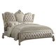 Acme Versailles Cal King Bed in Ivory Velvet/Bone White 21124CK PROMO