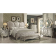 Acme Versailles 4-Piece Upholstered Bedroom Set in Ivory Velvet/Bone White