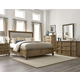 A.R.T Pavilion 4pc Upholstered Sleigh Bedroom Set in Rustic Pine