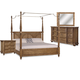 A.R.T Pavilion 4pc Poster Bed with Canopy and Posts Bedroom Set in Rustic Pine