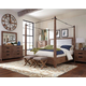 Coaster Donny Osmond Home Madeleine 4pc Canopy Bedroom Set in Smoky Acacia