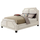 Coaster Donny Osmond Home Washbourne Queen Upholstered Panel Bed in White 300547Q