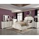 Coaster Donny Osmond Home Washbourne 4pc Upholstered Panel Bedroom Set in White