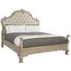 Bernhardt Campania California King Upholstered Panel Bed with Carving in Weathered Sand
