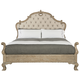 Bernhardt Campania 4pc Upholstered Panel Bedroom Set with Carving in Weathered Sand